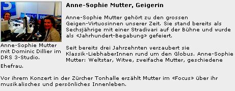 Anne-Sophie Mutter beim DRS3