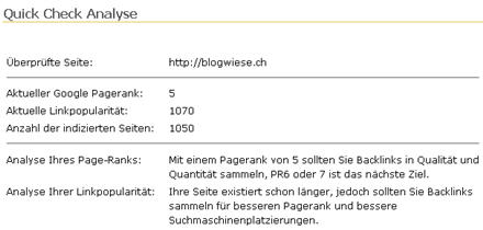 Page Ranking Blogwiese.ch